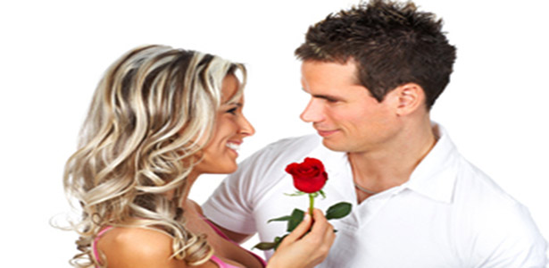 woman showing a man romance giving a rose