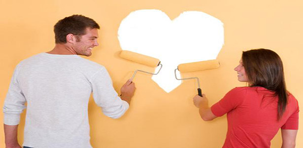 cohabitation couple living together painting heart shape